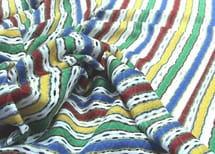 Coloured lengthwise stripes with open-worked parts